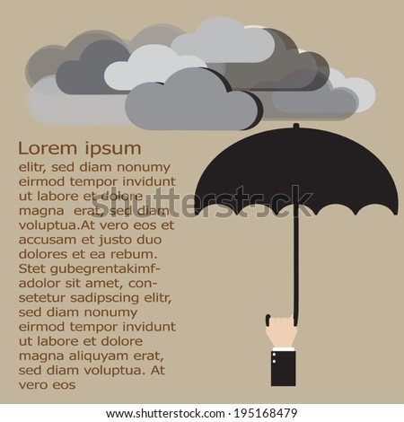 Businessman with umbrella under the cloud. Business and Economic crisis protection concept. Vector EPS 10. - stock vector