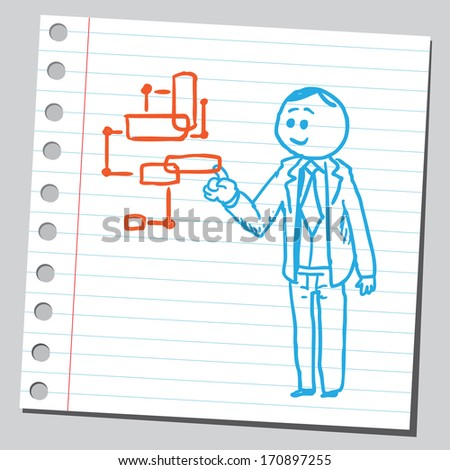 Businessman with virtual digital screen - stock vector