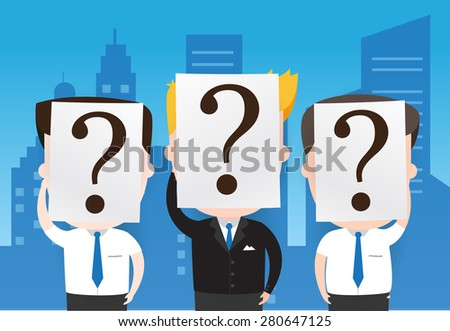 Businessman with  white paper with a question mark, Business concept, vector 10 - stock vector