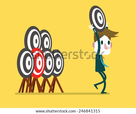 Businessman with wrong target. business concept. vector illustration - stock vector