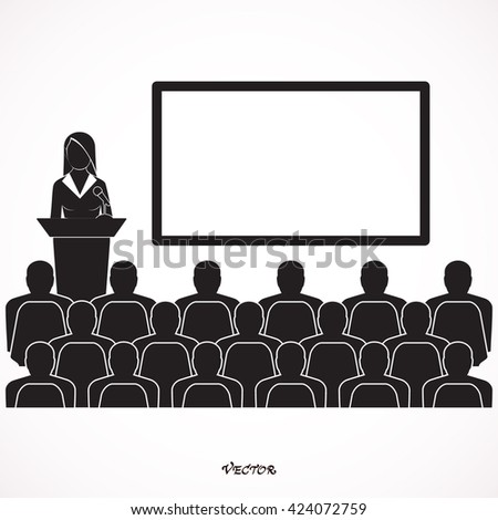 Businessman woman giving a presentation - stickman standing next to a blank white board. Presentation - Blank. Icon Isolated on White Background