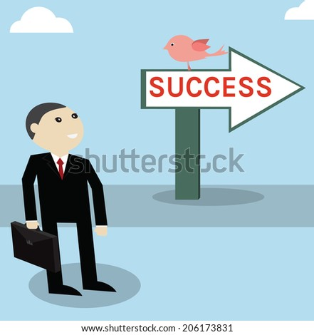 Businessman work foreword to success point,vector successful concept - stock vector