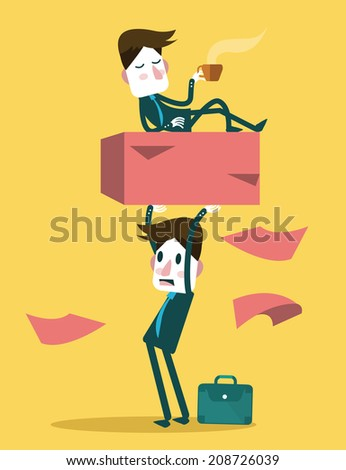 Businessman work hard alone. Exploit partner concept. vector illustration