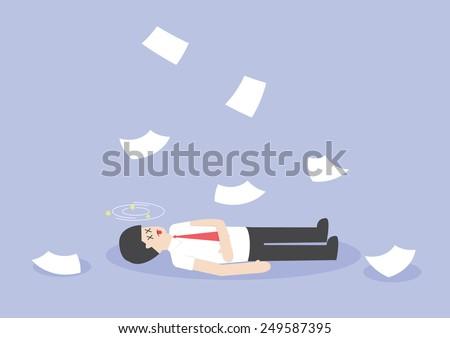 Businessman work hard and unconscious on the floor, VECTOR, EPS10 - stock vector
