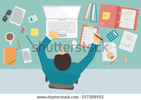 Businessman working and busy on his desk with laptop and office equipment, in style of trendy flat design.   - stock vector