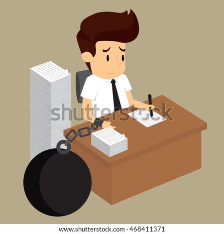 businessman working as a prisoner. vector