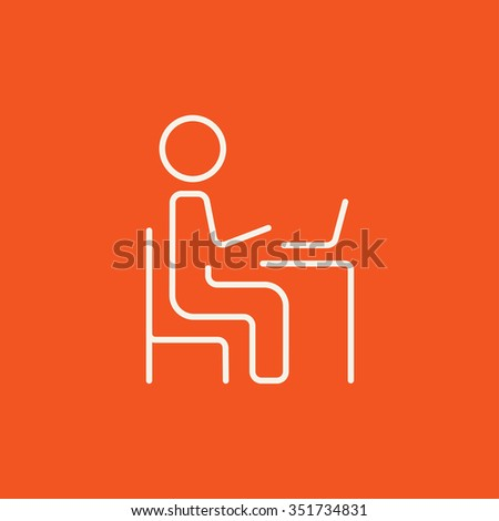 Businessman working at his laptop line icon for web, mobile and infographics. Vector white icon isolated on red background. - stock vector