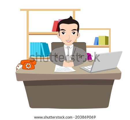 Businessman Working At Office with laptop