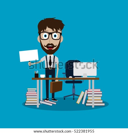 businessman working behind office desk holding blank sign vector art