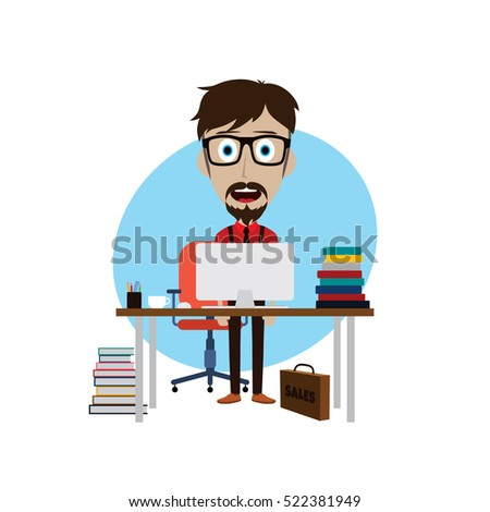 businessman working behind office desk vector art