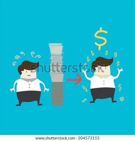businessman working hard for the money - stock vector