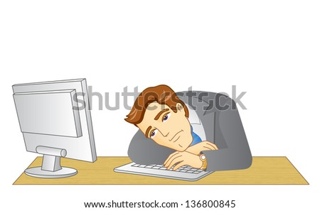 Businessman working in office. In the workplace. Frustrated and tired man. Vector illustration.
