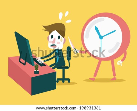 Businessman working in the deadline time with clock threaten. Abstract concept design. vector illustration - stock vector