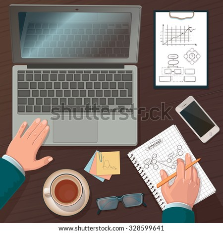 Businessman working on a laptop at office desk with paperwork and other objects around, top view - stock vector