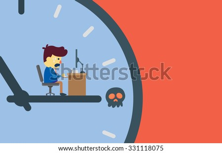 Businessman working on clockwise which moving to skull symbol point meaning to he may miss a deadline of work. - stock vector