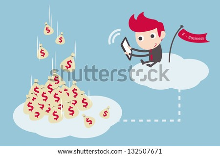 businessman working on cloud, vector cartoon. - stock vector