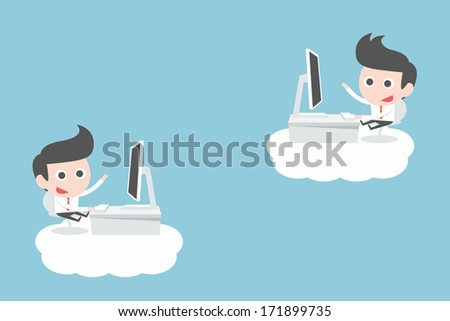 businessman working on clouds, vector - stock vector