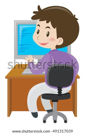 Businessman working on computer illustration