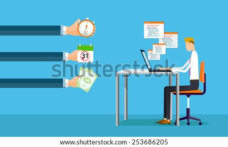 businessman working on line making earnings to business .people business cartoon character - stock vector