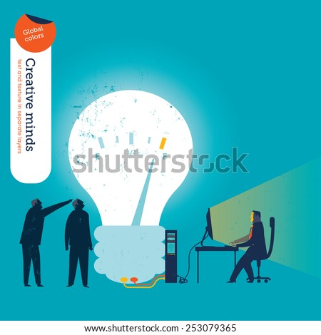 Businessman working with computer branched to a bulb. Vector illustration Eps10 file. Global colors. Text and Texture in separate layers. - stock vector