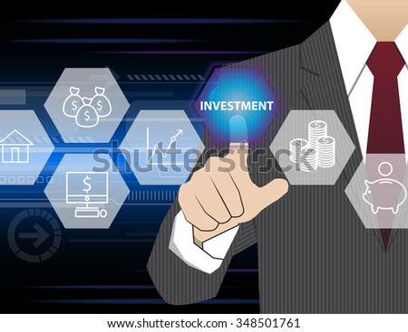 Businessman working with modern virtual technology, hand touching investment - stock vector
