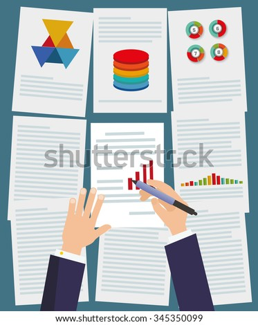 businessman working with paperwork on his desk at office. Flat design. Top view. - stock vector