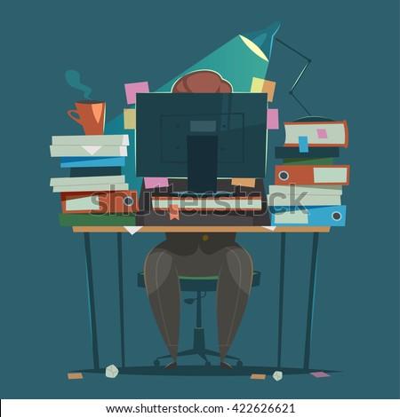 Businessman works hard at an office. Vector illustration.   - stock vector