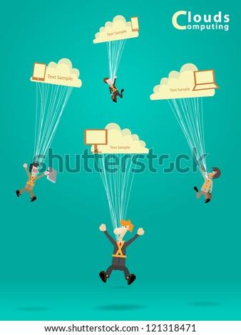 Businessman works with cloud computer concept ideas, vector illustration design - stock vector