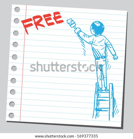 Businessman write word FREE
