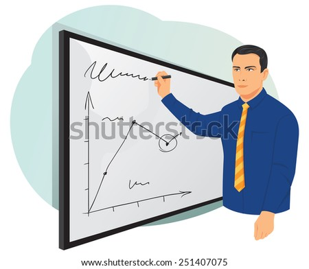 Businessman writing on whiteboard with marker - stock vector