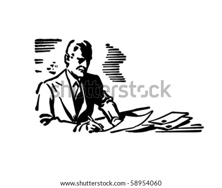 Businessman Writing - Retro Clip Art