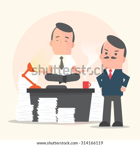 Businessman yoga position levitating on desk with angry manager - vector illustration - stock vector