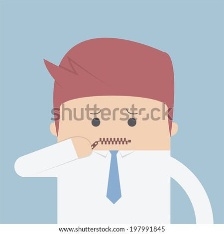 Businessman zipped his mouth, Inarticulate concept, VECTOR, EPS10 - stock vector