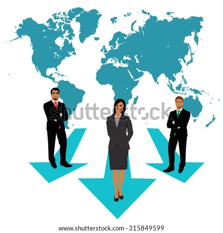 businessmen and businesswoman making choices, world map, business concept, apps, vector illustration in flat design for web sites, Infographic design  - stock vector