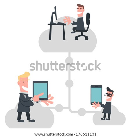 Businessmen Communication by Internet - stock vector