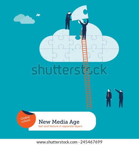 Businessmen completing a cloud puzzle. Vector illustration Eps10 file. Global colors. Text and Texture in separate layers. - stock vector