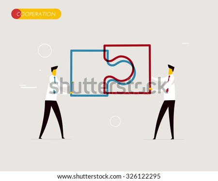 Businessmen connect puzzle. Joint efforts, success, union. Vector illustration Eps 10 file. Success Cooperation - stock vector