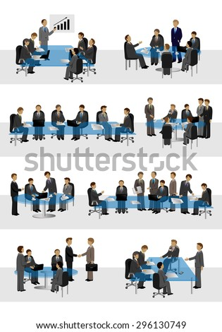 Businessmen, Different Situation In Office Set - Isolated On White Background - Vector Illustration, Graphic Design Editable For Your Design - stock vector