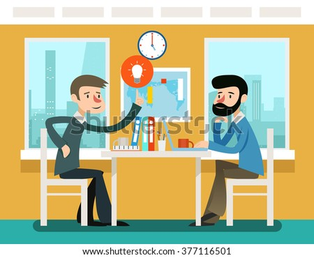 Businessmen discussing strategy sitting at office desk. Vector illustration in flat style. Strategy businessman, discussion teamwork, meeting and communication illustration - stock vector