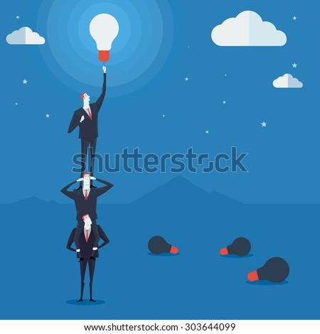 Businessmen do a pyramid of acrobats turn on a lamp. Vector Illustration Business concept a ladder Corporate of success. - stock vector