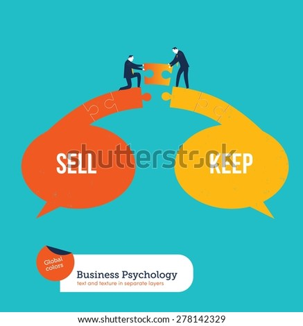 Businessmen finding a solution between sell and keep. Vector illustration Eps10 file. Global colors. Text and Texture in separate layers. - stock vector