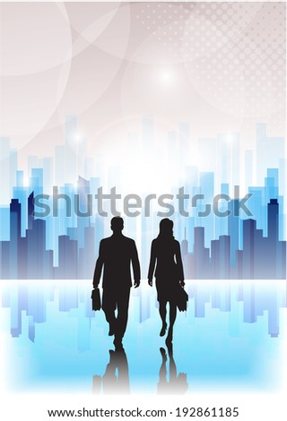 businessmen go on an abstract background of the city - stock vector