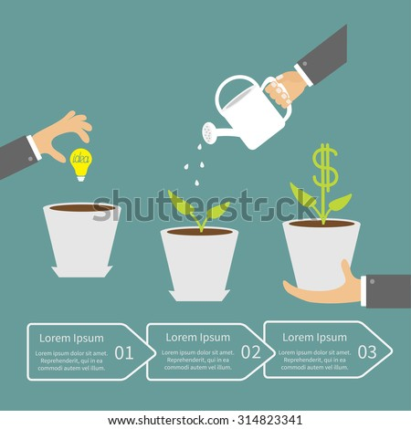 Businessmen hand Financial growth concept. Three steps. Business infographic. Flat design Vector illustration.