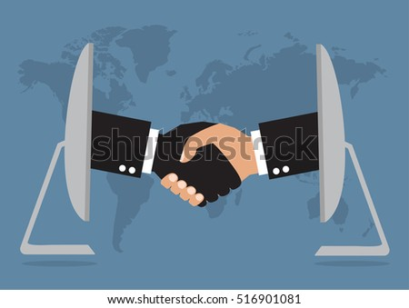 Businessmen handshaking from online computer after good deal on world map background. Vector illustration business online network concept.