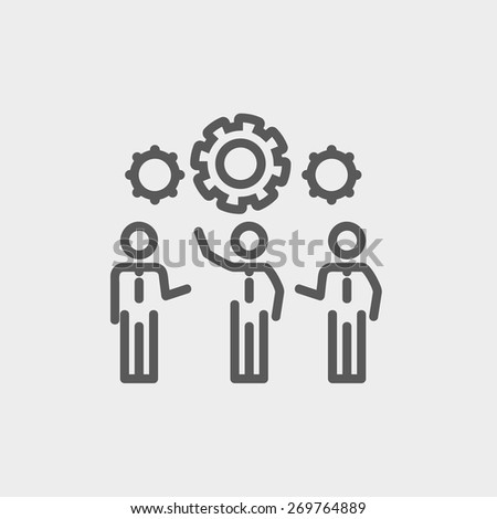 Businessmen holding a gear of a machine icon thin line for web and mobile, modern minimalistic flat design. Vector dark grey icon on light grey background. - stock vector