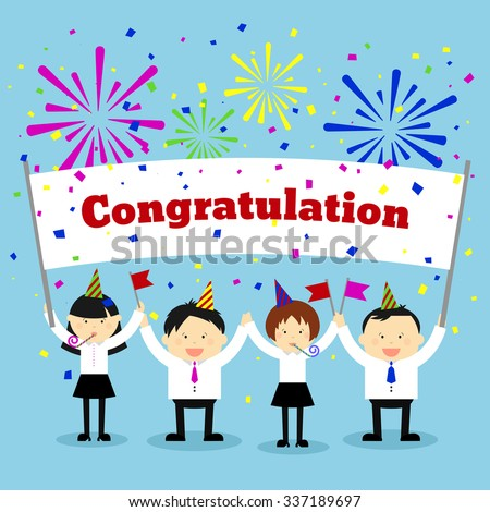 Businessmen holding congratulation sign business banner stock vector businessmen holding congratulation sign business and banner message greeting vector concept background m4hsunfo