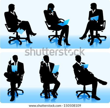 Businessmen in chairs - stock vector