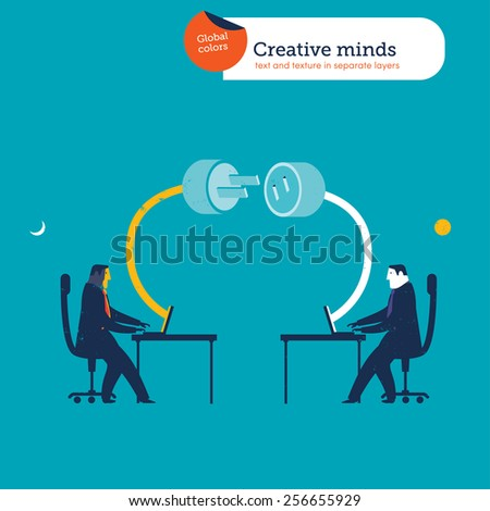 Businessmen in different parts of the word plug and socket coming out of laptops. Vector illustration Eps10 file. Global colors. Text and Texture in separate layers. - stock vector