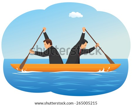 Businessmen in the boat are rowing at the opposite direction from each other - stock vector