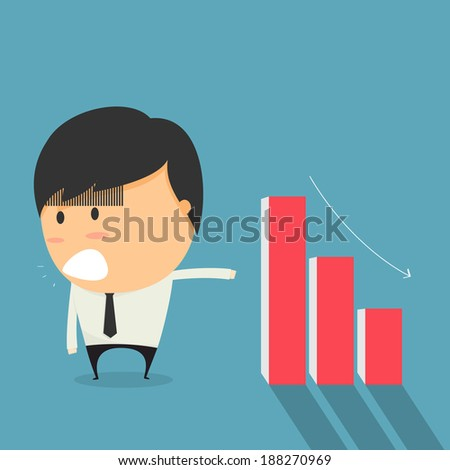 Businessmen is falling stocks. cartoon concept vector. - stock vector